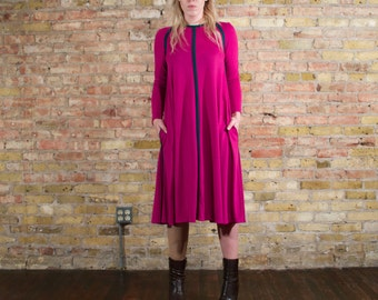 back together 70s vintage TENT dress  / s trapeze dress / color block dress / minimalist 70s / fuchsia long sleeve dress / midi long sleeve