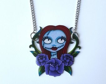 Sally Nightmare Before Christmas Shrink Plastic Necklace