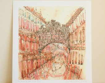 Venice Painting, BRIDGE OF SIGHS, Venice Bridge Print, Venice Art Drawing, Watercolor Painting, Grand Canal Venice, Venice Art Print Italy