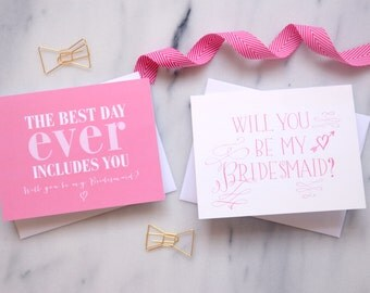 Will you Be my Bridesmaid Cards {Set of 5}