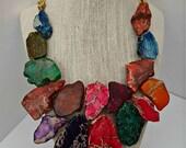 Turquoise Multi Color Rainbow Statement Necklace - Turquoise Bib Jewelry - Stone Statement Necklace