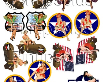 WWII Pinup Model Building RC Plane Nose Art decals 8 pair No. 331
