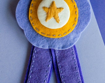 Embroidered Felt Rosette Brooch: Lumpy Space Princess