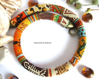 """Bead Crochet necklace """"Journey to Africa"""" bright, colorful,summer,orange,yellow,black,brown,turquoise,bronze,green, for her,made to order"""