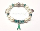 Ovarian Cancer, Cervical Cancer, Teal Ribbon, Beaded Stretch Bracelet,Cancer Awareness Jewelry, Handmade Custom Beaded Jewelry