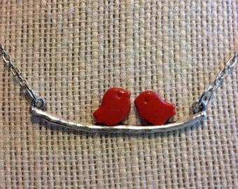 """18"""" Orange Birds On A Brance Necklace"""