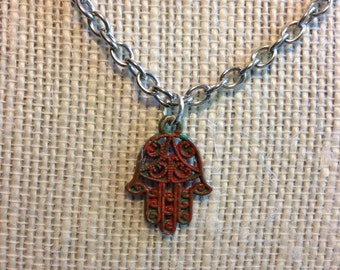 "18"" Red and Green Hamsa Hand Necklace"