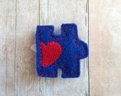 Autism Puzzle Piece Hair Clip - Blue Embroidered Wool Blend Felt with Red Heart on Plastic Clip, Made in USA
