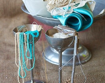 Set for hand embroidery projects. Turquoise/Beige