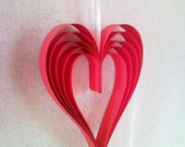Hanging red paper heart garland decor, wedding decor, birthday decor, ...