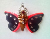 Butterfly brooch or necklace, pendant from upcycled pink sunglasses, v...