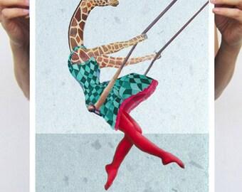 Giraffe on a swing - 1 : Art Print Poster A3 Illustration Giclee Print Wall art Wall Hanging Wall Decor Animal Painting Digital Art