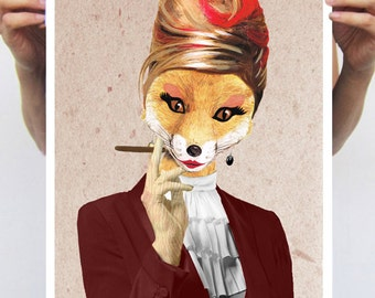 Fox Lady, Art Print painting drawing illustration portrait painting mixed media digital print POSTER 11x16, merry everything, christmas gift