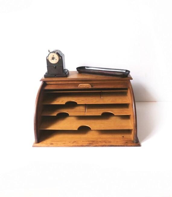 classeur de bureau en bois rideau coulissant 1950. Black Bedroom Furniture Sets. Home Design Ideas