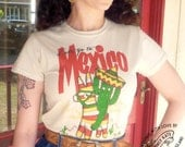 Mexican Cactus Vintage Style Tee Shirt by Clumsy Kate