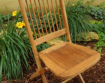Vintage Wood Folding Chair . Camp Chair . Slat Wood Chair