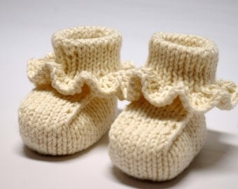 Organic Ruffled Baby Booties: Hand Knitted Undyed Organic Cotton Ruffled Soft Soled Newborn Shoes, Baby Shower Gift, Made To Order