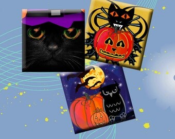 HALLOWEEN - Digital Collage Sheet 1 inch square images for pendants, earrings, magnets, decoupage, scrap-booking. Instant Download #224.