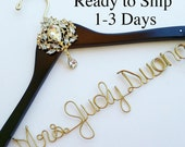 Made in USA. Personalized Bridal Wedding Hanger. Bridal Hanger. Bridal Party. Custom Hanger. Rhinestone Medallion.