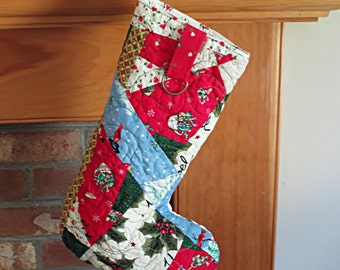 Modern Christmas Stocking, Christmas Stocking, Quilted Christmas stocking, Contemporary Christmas Stockings, Holiday Stockings