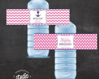 Nautical Birthday Water Bottle Wrappers - GIRL - Printable - Includes TWO DESIGNS (instant download)
