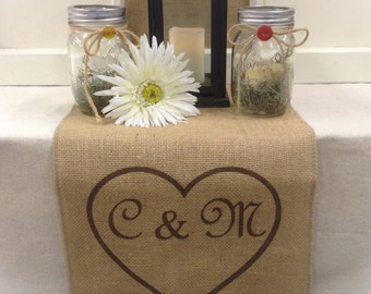 "Burlap Table Runner 12"", 14"" or 15"" wide with initials inside heart - Wedding runner Engagement party Bridal shower Wedding gift Home decor"