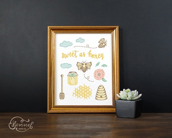 Honey bee art print sweet as honey bee wall art by for Honey bee decorations for your home