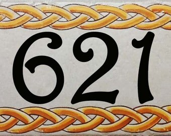 Ceramic house numbers, house number plaque, hand painted porcelain house numbers design. house sign, house numbers.