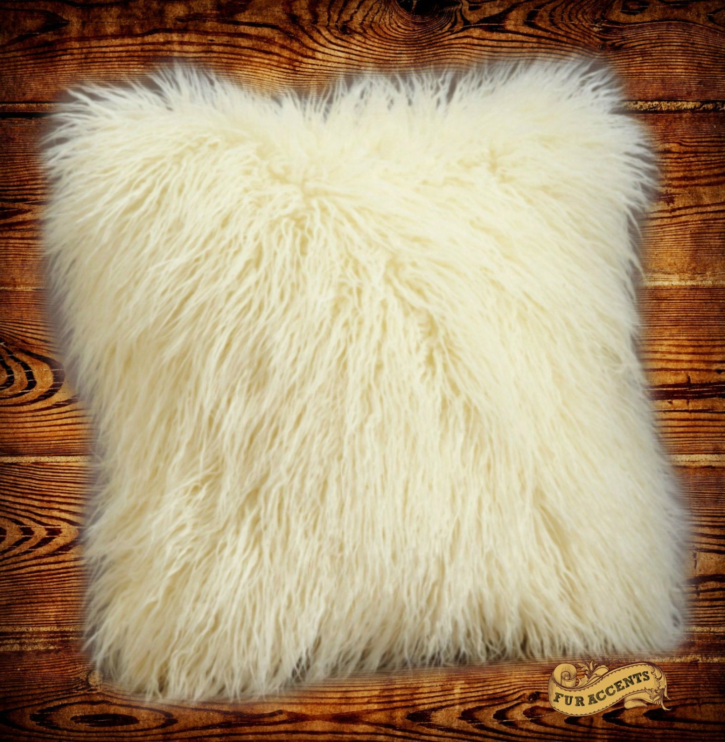 Fur Throw Pillow Covers : Faux Fur Mongolian Long Hair Throw Pillow Cover / by FurAccents