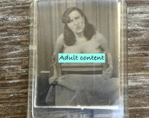Nude photo. Vintage Key Ring. Novelty charm. Naughty pin up. Risque. Bondage Art. Adult content. 1950s 1960s M101