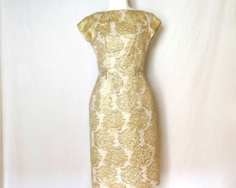 Vintage 1950's/ 60's Gold Rose Embossed Short Sleeve Wiggle Dress Size Small