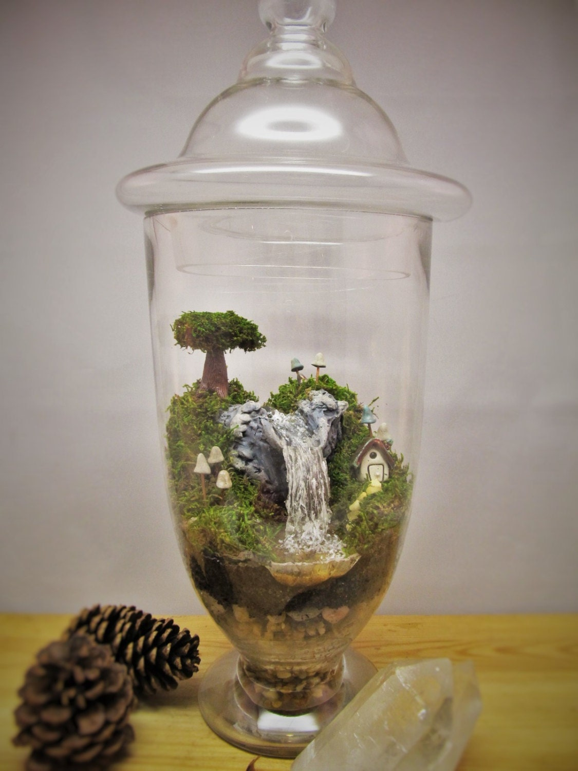amazing large waterfall terrarium with raku fired miniature. Black Bedroom Furniture Sets. Home Design Ideas