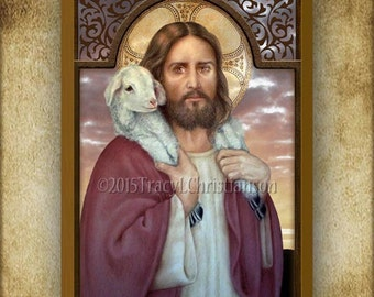 The Good Shepherd Wood Plaque and Holy Card GIFT SET #3177