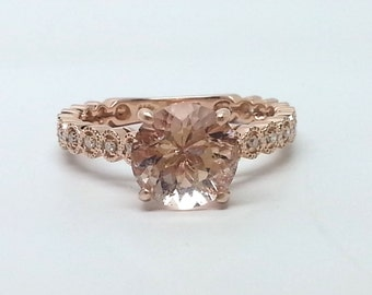 1.60ctw Morganite & Diamond 10kt Rose Gold Ring Size 5