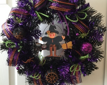"Halloween Wreath, Witch Wreath, Black Wreath, Purple Wreath, 16"" Round Wreath, Halloween Witch"