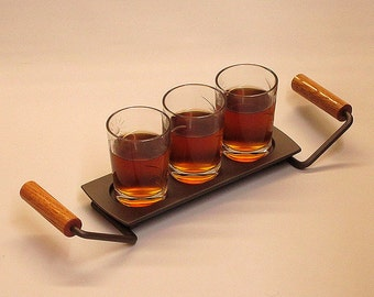 """The """"3 Liner"""" Bar Wooden Serving Tray (Platter) with Handles."""