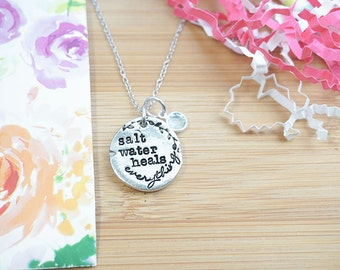 Salt Water Heals Everything Necklace | Beach Theme | Pewter Necklace | Beach Jewelry | Hand Stamped