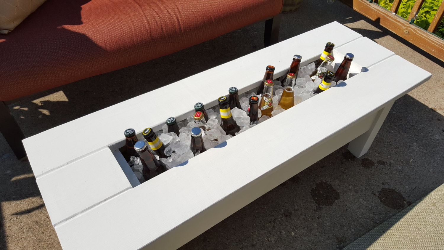 Outdoor cooler coffee table built in beer wine ice for How to make a cooler table
