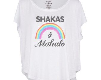 Womens Top, Women's Shakas & Mahalo Circle Tee - Women's Graphic T-shirt- Circle Tee's by Feather 4 Arrow