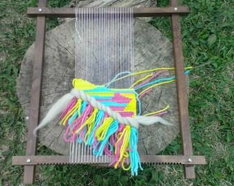 Solid wood frame loom, lap loom, weaving tool