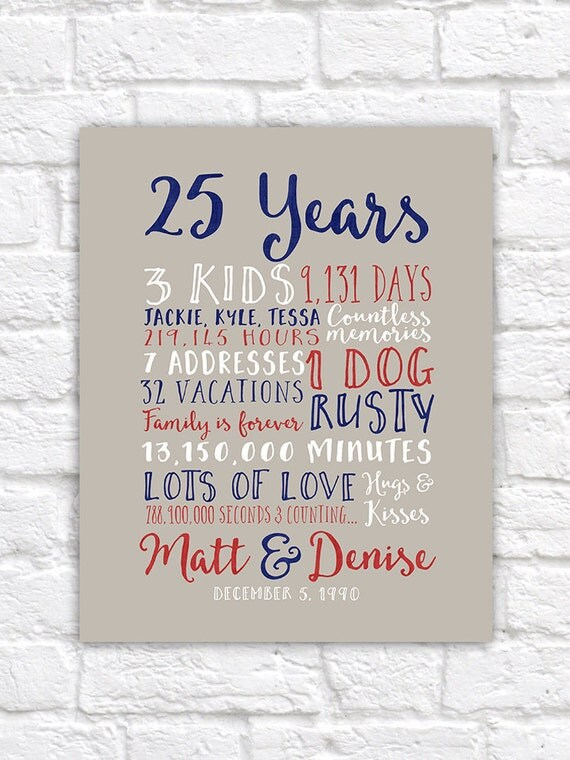 25th Wedding Anniversary Gift, Paper, Canvas, Twenty Fifth, 10 year ...