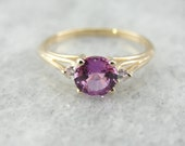 Pink Sapphire and Diamond Ring in Vintage Mounting H5WVTR-P