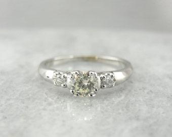 Pale Yellow Diamond, Three Stone Engagement Ring UP029T-P