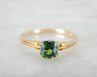 Forest Green Tsavorite Garnet Ring for Engagement or Every Day 1DDHEQ-D