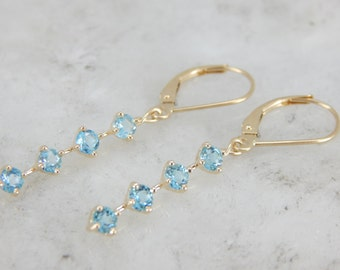 Something Blue, Pretty Blue Topaz Drop Earrings XA42D0-P