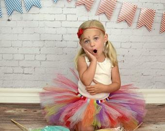 Rainbow tutu - Girls Tutu - Birthday Tutu - dance tutu - baby tutu