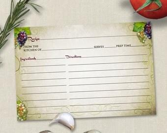 Rustic Vineyard Grapevine Bridal Wedding Shower Recipe Card, Instant Download PDF