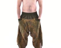 Traditional Pattern Olive Samurai Pants, Parkour Pants, Trousers, Baggy pants, Yoga Pants, Handmade 100% Cotton(Unisex) One Size Fit All