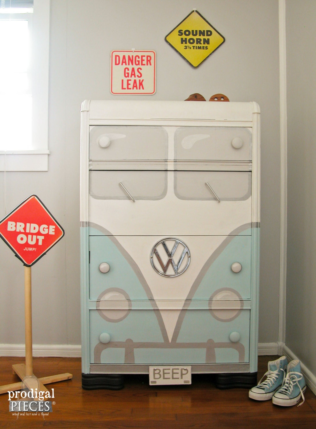 Retro Aqua Blue Volkswagen Bus Chest Of Drawers Art Deco