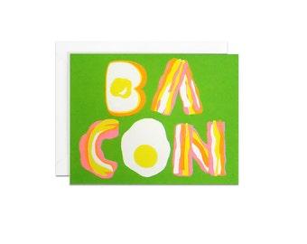 BACON screenprinted card